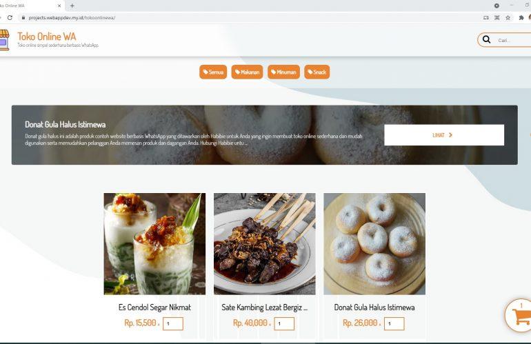 Paket Jasa Pembuatan Website Toko Online Berbasis WhatsApp Biaya Hanya Rp. 750000